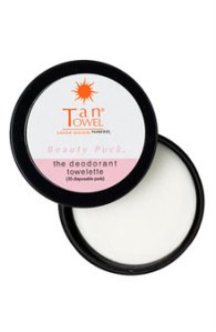 tan towel beauty puck deodorant, best summer beauty